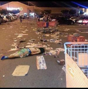 A photo captured by twitter user @wolfgang256 shows the aftermath of a chaotic Wal-Mart Black Friday event, using the hashtag #WalmartFights. Activist group Anonymous encouraged users on twitter to post photos and other media using the #WalmartFights hashtag.