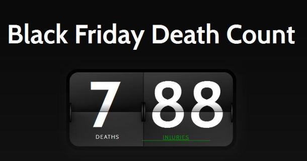 The current ticker on website blackfridaydeathcount.com as of 10 a.m. PST on Nov. 30 has recorded seven deaths and 88 injuries from Black Friday events since 2006. The site also links news reports to every incident, recording one death and 14 injuries in 2013.