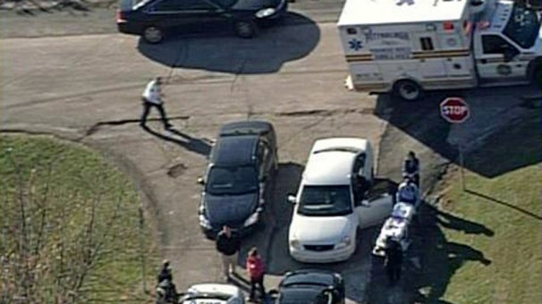 A photo taken by a local television station shows emergency crews responding to a shooting that took place at Brashear High School in the Pittsburgh, PA area. Three students were shot by an unknown gunman, but no injuries were fatal. (Photo: AP)