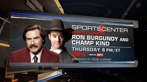 """After the announcement that Florida State Quarterback Jameis Winston will find out if he will be charged with the sexual battery of a fellow student, ESPN has cancelled its scheduled SportsCenter appearance of Ron Burgundy, Will Ferrell's character in the upcoming film, """"Anchorman 2: The Legend Continues."""""""