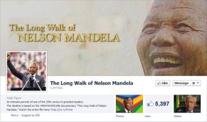 "The cover of the Facebook page ""The Long Walk of Nelson Mandela"" shows the late diplomat smiling and jubilant."