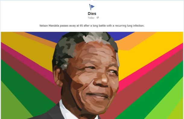 "Mandela's death is marked today on the Facebook timeline of the ""Long Walk of Nelson Mandela"" page."