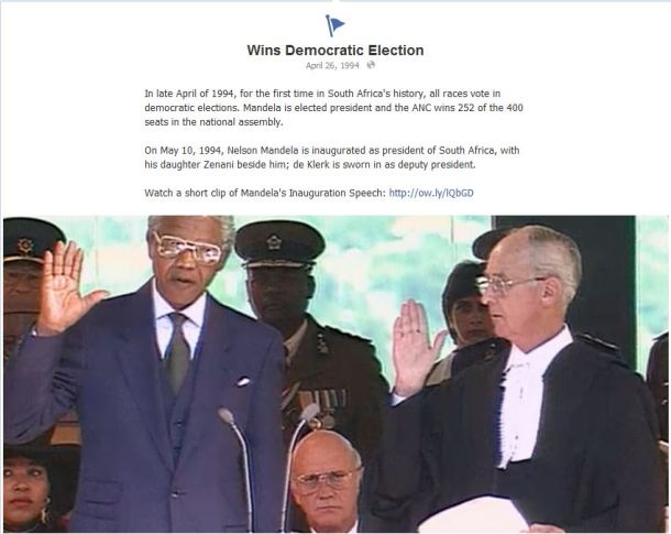 The date in 1994 in which Mandela was elected president of South Africa is recorded in the Facebook timeline, complete with a link for further history.